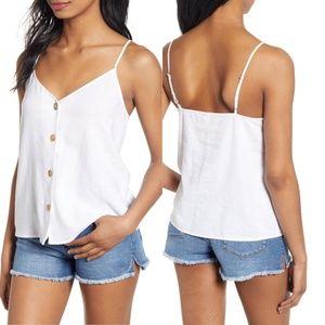 bp. Women Camisole White Linen Blend xs buttons
